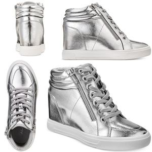 NWB Aldo Kaia Lace-Up Wedge Sneakers SILVER SIZE 9
